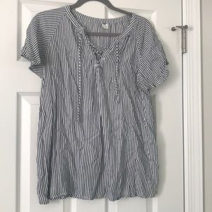 Stripped short sleeve blouse